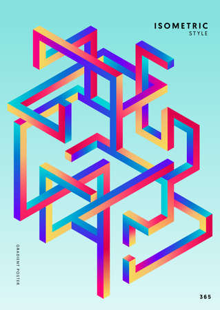 Abstract gradient isometric geometric shape design template poster background modern art style. Design element can be used for backdrop, publication, brochure, flyer, leaflet, vector illustration