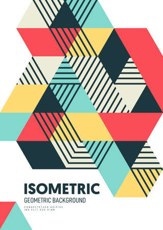 Abstract isometric geometric shape design template poster background modern art style. Graphic design element can be used for backdrop, publication, brochure, flyer, leaflet, vector illustration