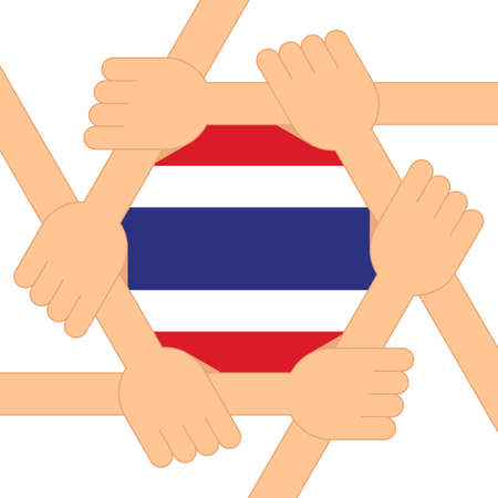 Protest for democracy in Thailand poster design template decorative with Thailand flag flat design style, EPS10 vector illustration