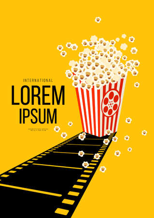 Movie and film poster design template background with retro filmstrip and popcorn. Can be used for backdrop, banner, brochure, leaflet, flyer, print, publication, vector illustration 일러스트