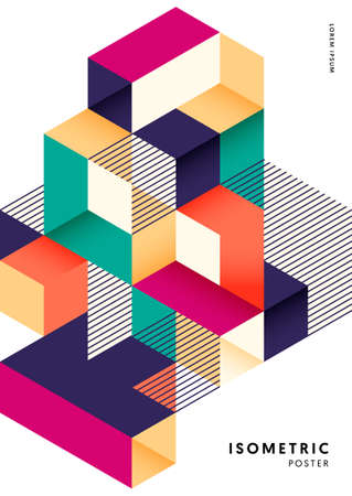 Isometric geometric shape design template poster abstract background modern art style. Graphic design element can be used for backdrop, publication, brochure, flyer, leaflet, vector illustration