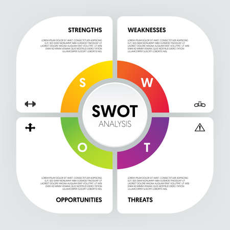 SWOT analysis infographic template design data visualization for marketing and business strategy modern style. EPS10 vector illustration