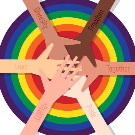 LGBTQ+ community concept design template background with people putting hands together. Design element can be used for backdrop, banner, brochure, postcard, print, publication, vector illustration