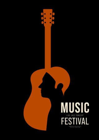 Music poster design template background decorative with guitar outline. Design element template can be used for backdrop, banner, brochure, print, publication, vector illustration