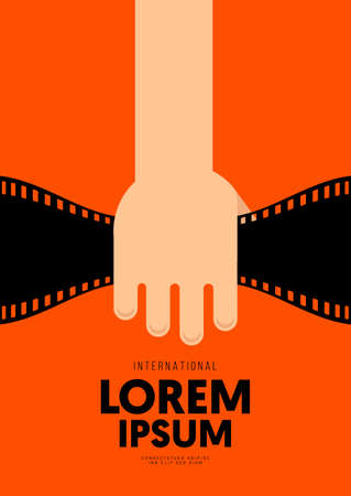 Movie and film poster design template background with vintage filmstrip. Can be used for backdrop, banner, brochure, leaflet, flyer, print, publication, vector illustration