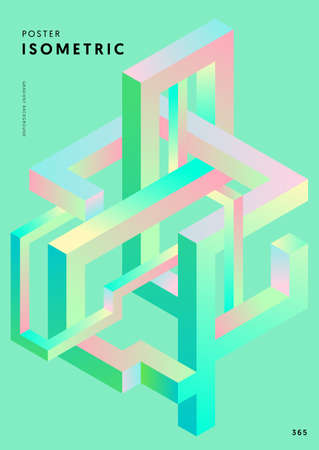 Abstract gradient isometric geometric shape design template background modern art style. Design element can be used for poster, backdrop, publication, brochure, flyer, leaflet, vector illustration 일러스트