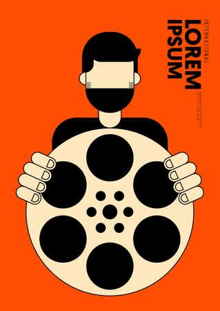 Movie and film poster design template background with vintage retro film reel. Can be used for backdrop, banner, brochure, leaflet, flyer, print, publication, vector illustration 일러스트