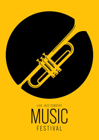 Music poster design template background decorative with trumpet. Design element template can be used for backdrop, banner, brochure, print, publication, vector illustration