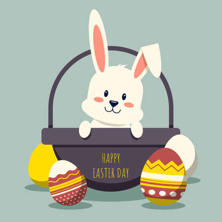 Happy easter day decorative with rabbit in basket and fancy egg flat design, vector illustration 일러스트