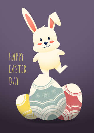 Happy easter day decorative with rabbit standing on fancy egg, vector illustration 일러스트