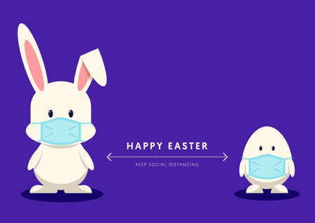 Happy easter day during  pandemic situation and social distancing concept flat design style decorative with rabbit and egg character wearing face mask, vector illustration 일러스트