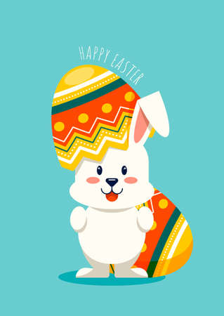 Happy easter day decorative with rabbit and fancy egg flat design style, vector illustration