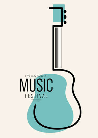 Music poster design template background decorative with outline guitar. Design element template can be used for backdrop, banner, brochure, print, publication, vector illustration