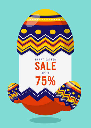 Happy Easter sale promotion banner and special discount template design decorative with fancy egg flat design style, vector illustration