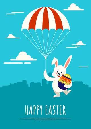Happy Easter day background decorative with rabbit holding parachute and hugging fancy egg flat design style, vector illustration