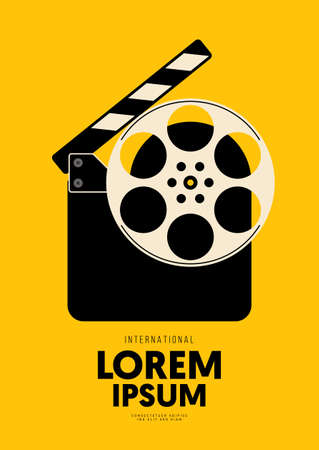Movie and film poster design template background with filmstrip and clapperboard. Can be used for backdrop, banner, brochure, leaflet, flyer, print, publication, vector illustration