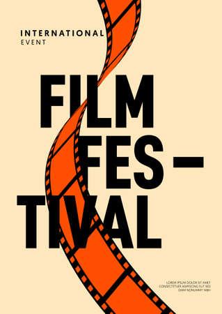 Movie and film poster design template background with vintage retro filmstrip. Can be used for backdrop, banner, brochure, leaflet, flyer, print, publication, vector illustration