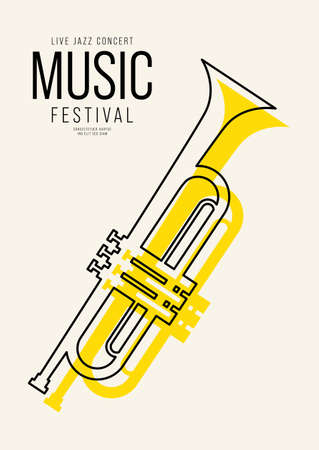 Music poster design template background decorative with outline trumpet. Design element template can be used for backdrop, banner, brochure, print, publication, vector illustration