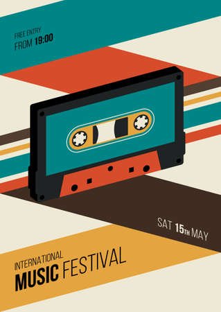 Music poster design template background decorative with cassette tape. Design element template can be used for backdrop, banner, brochure, print, publication, vector illustration 일러스트
