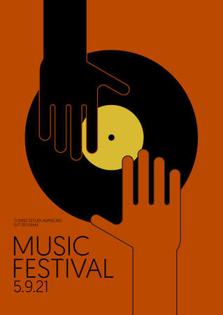 Music poster design template background with vinyl record and human hand. Design element template can be used for backdrop, banner, brochure, leaflet, print, publication, vector illustration