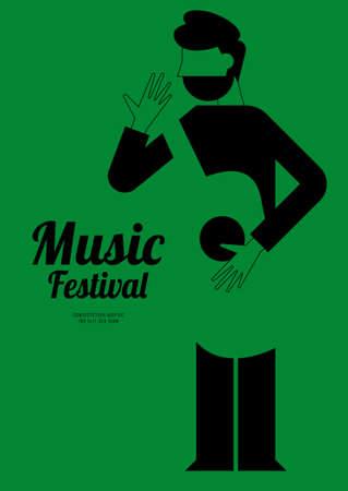 Music festival poster design template background with acoustic guitar. Design element template for backdrop, banner, brochure, leaflet, print, publication, vector illustration Vetores