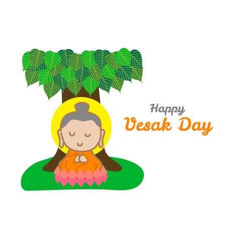 gautama buddha: Happy Vesak day. Illustration