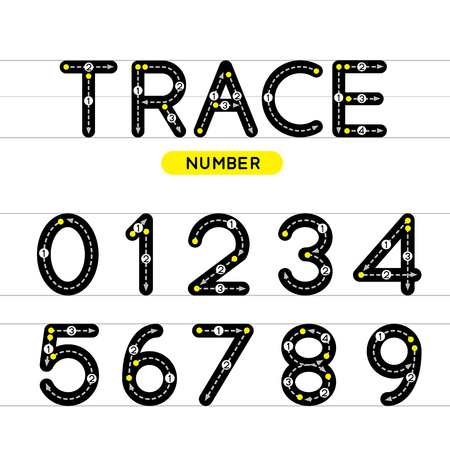 Trace number vector design illustration. Learn handwriting.