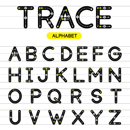 Trace alphabet vector design illustration. Learn handwriting. A-Z rounded uppercase. Çizim
