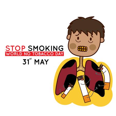 31st: Stop smoking. May 31st World no tobacco day. Vector illustration.