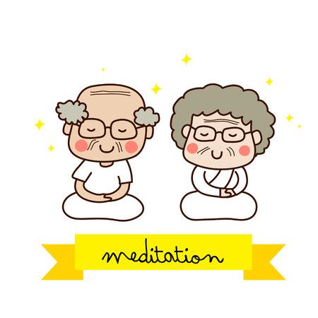 meditating: An elderly couple meditating.