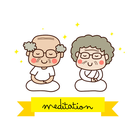 mujer meditando: Una pareja de ancianos meditando.
