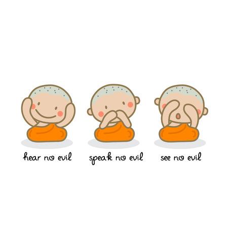 see no evil: Hear no evil, speak no evil, see no evil. Vector illustration.