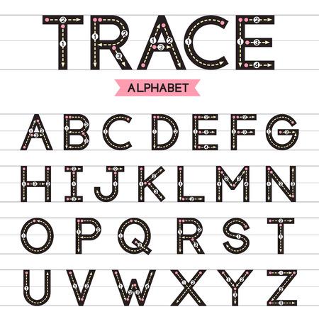 uppercase: Trace alphabet vector design illustration. Learn handwriting. A-Z uppercase.