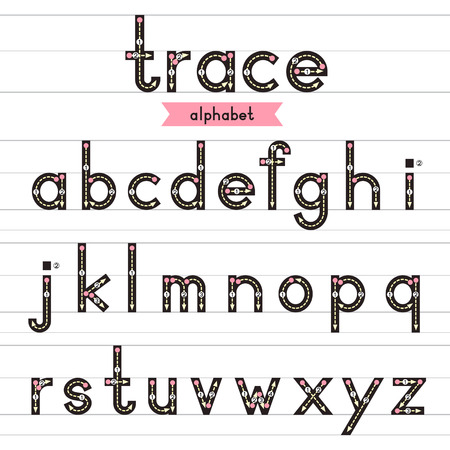 Trace alphabet vector design illustration. Learn handwriting. a-z lowercase. Illustration
