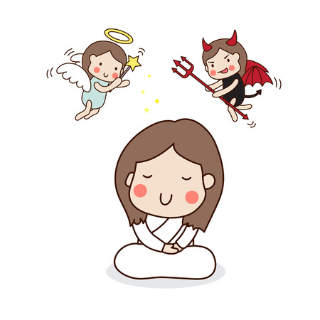angel girl: A girl meditating. Angel and devil.