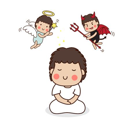 teufel und engel: Ein Junge, zu meditieren. Engel und Teufel.