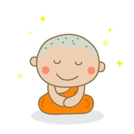 meditating: A monk meditating.