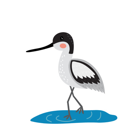 An avocet standing in water cartoon character. Isolated on white background. Vector illustration. Иллюстрация