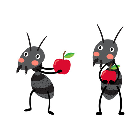 Black ants with red apples cartoon character. Isolated on white background. Vector illustration.