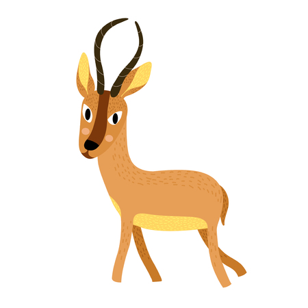 African animal antelope cartoon character. Isolated on white background. Vector illustration.