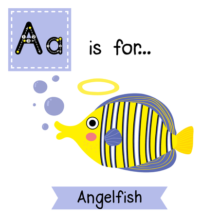 angelfish: A letter tracing. Angelfish. Cute children zoo alphabet flash card. Funny cartoon animal. Kids abc education. Learning English vocabulary. Vector illustration. Illustration