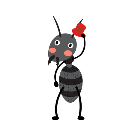 formicidae: A black ant with red hat cartoon character. Isolated on white background. Vector illustration.