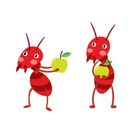 Fire ants with green apples cartoon character. Isolated on white background. Vector illustration.