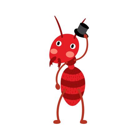 hormiga caricatura: Una hormiga de fuego con el personaje de dibujos animados sombrero negro. Aislado en el fondo blanco. Ilustración del vector.