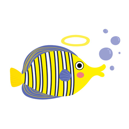 pterophyllum: Angelfish with bubbles cartoon character. Isolated on white background. Vector illustration.