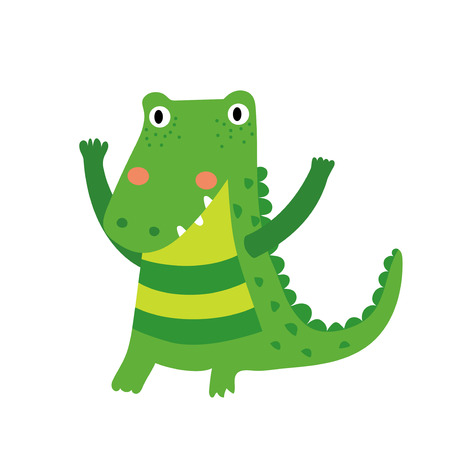 caiman: A standing alligator cartoon character. Isolated on white background. Vector illustration. Illustration