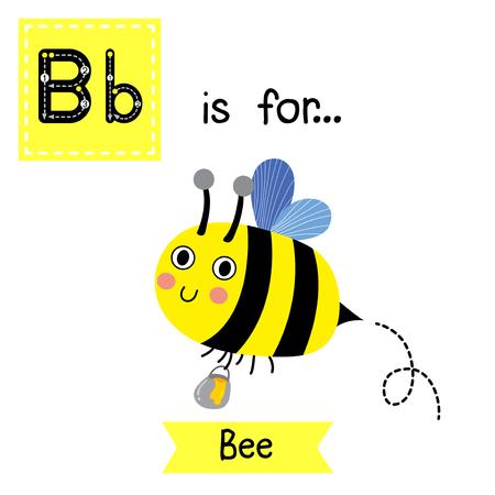 B Brief Verfolgung. Happy Bee fliegen um mit einem brimful Glas köstlichen Honig. Nette Kinder Zoo Alphabet-Flash-Karte. Lustige Comic-Tier. Kinder abc Bildung. Englisch Lernen Wortschatz. Vektor-Illustration. Standard-Bild - 59136253