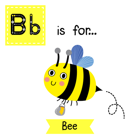 B letter tracing. Happy Bee flying around with a brimful jar of delicious honey. Cute children zoo alphabet flash card. Funny cartoon animal. Kids abc education. Learning English vocabulary. Vector illustration.