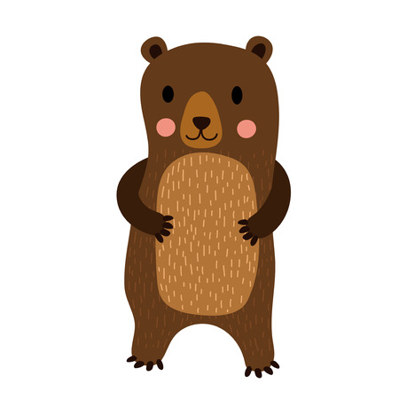 Standing Bear cartoon character. Isolated on white background. Vector illustration. Illustration