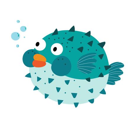 pez globo: Azul Blowfish personaje de dibujos animados. Aislado en el fondo blanco. Ilustraci�n del vector.